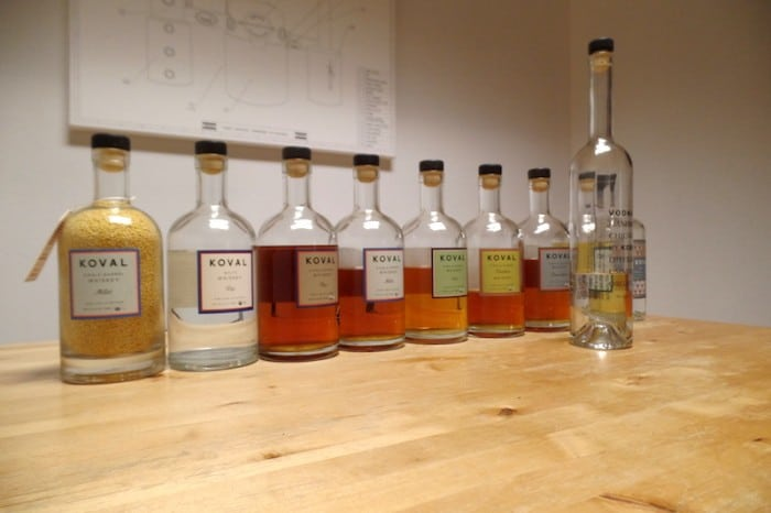Some of Koval's sprits of different grain types (image copyright The Whiskey Wash)