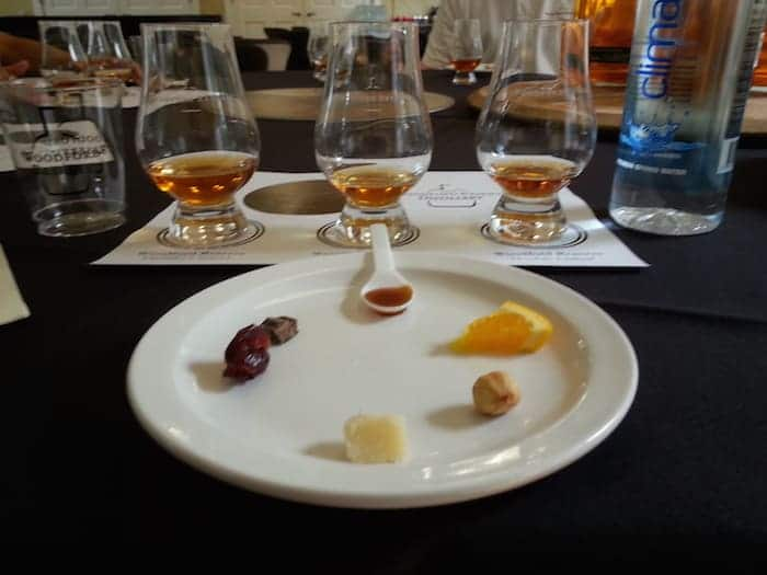 Elements of the Woodford Reserve tasting experience (image copyright The Whiskey Wash/Maggie Kimberl)