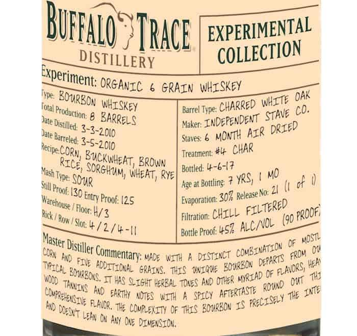 Buffalo Trace Organic Six Grain Whiskey