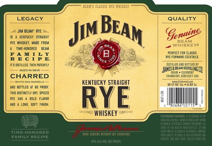 Jim Beam Rye 80 Proof