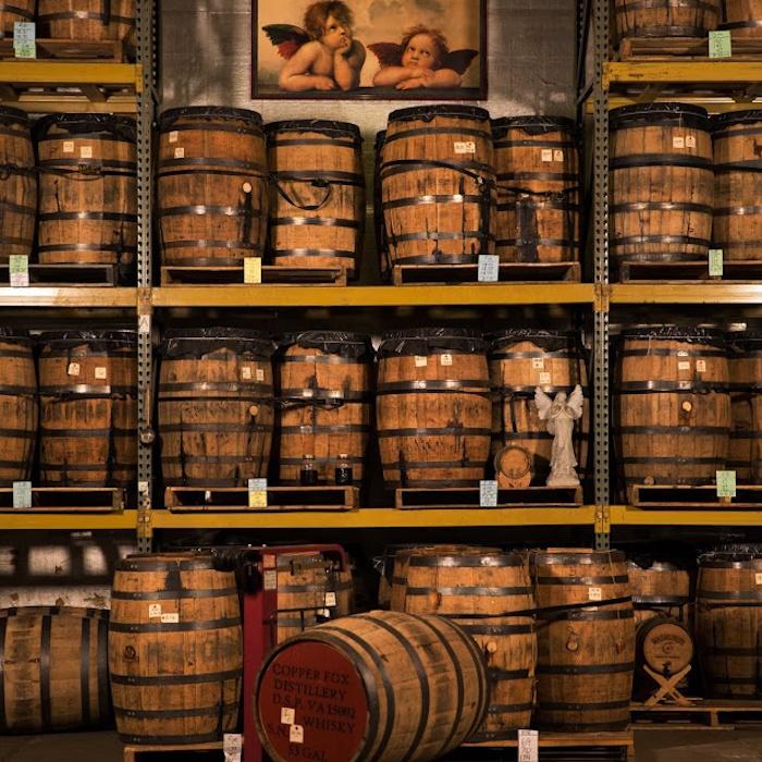 Aging barrels at Copper Fox