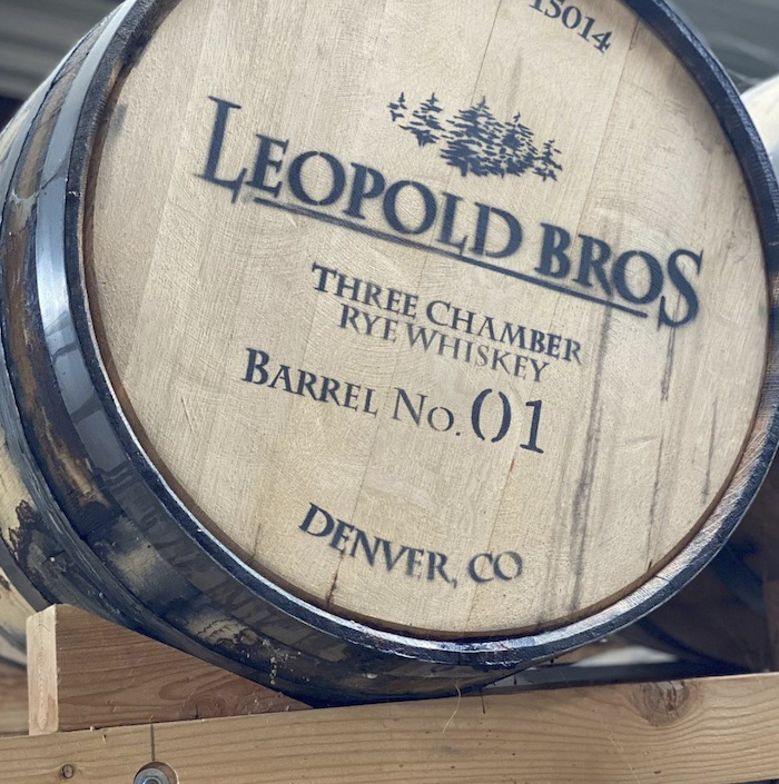 A barrel of Leopold Bros 3 Chamber Rye
