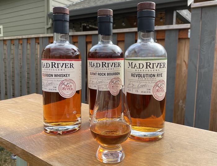 Mad River Revolution Rye, Bourbon Whiskey, and Burnt Rock Bourbon (photo via Debbie Nelson)
