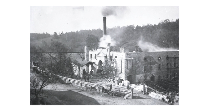 Old Taylor distillery under construction in early 1887